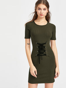Ladies corset lace up bodycon mini dress - Iconic Trendz Boutique