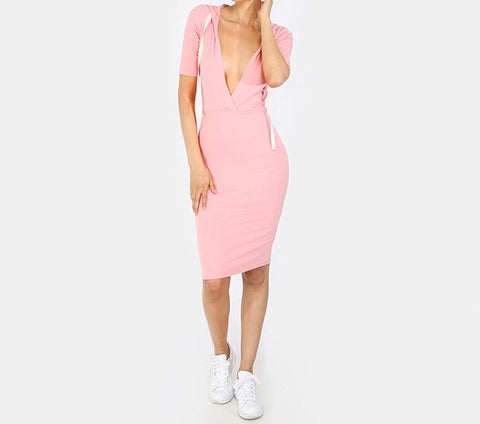 Ladies deep v hoodie casual dress - Iconic Trendz Boutique