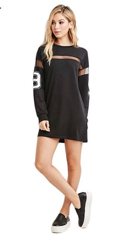 """Unknown"" sheer insert casual tshirt number dress - Iconic Trendz Boutique"