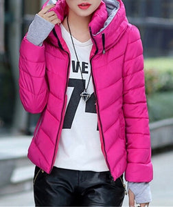 Ladies padded warm double neck winter jacket