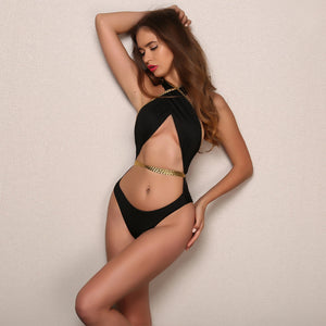 """Roman royal"" cutout rope detail wrap monokini bikini - Iconic Trendz Boutique"