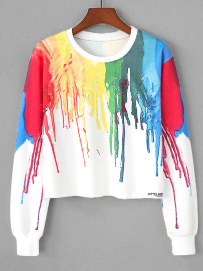 3D paint colorblast design pullover fashion sweater - Iconic Trendz Boutique