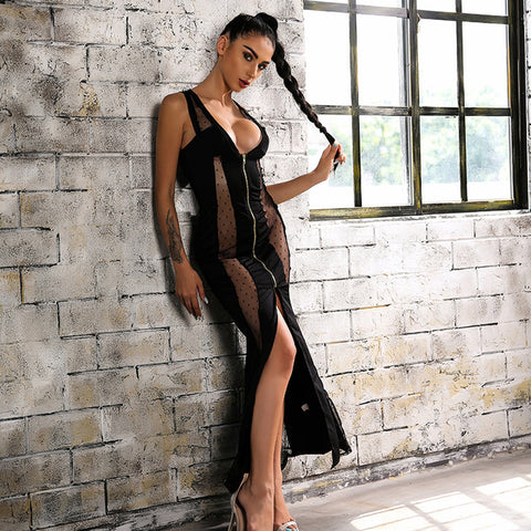 """Bio"" sheer insert maxi dress - Iconic Trendz Boutique"