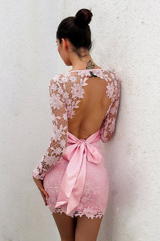 """Pretty in pink"" lace detail bow tie back mini dress - Iconic Trendz Boutique"