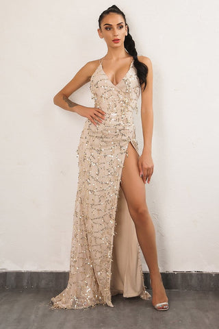 """Alexa"" sequined detail side split maxi dress - Iconic Trendz Boutique"