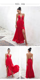 Lady in red elegant backless maxi dress