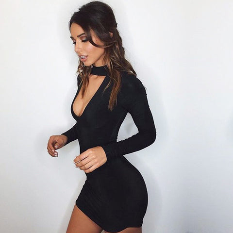 Sexy black choker mini dress - Iconic Trendz Boutique