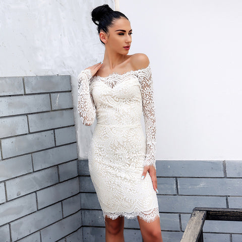 all lace off the shoulder bodycon dress - Iconic Trendz Boutique
