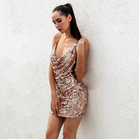 """Always on time"" gold sequined halter mini dress - Iconic Trendz Boutique"