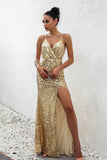 """Golden Goddess"" elegant sequins side split long dress - Iconic Trendz Boutique"