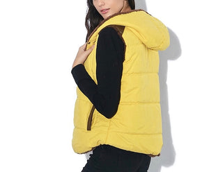 Long sleeve top with 2 in 1 Puffer Warm Vest Coat hoodie