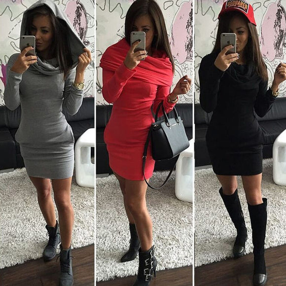 Multiwear hoodie scarf bodycon dress