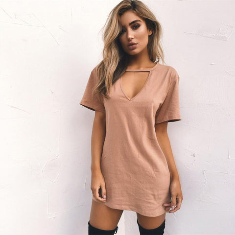Chic keyhole mini tshirt dress - Iconic Trendz Boutique