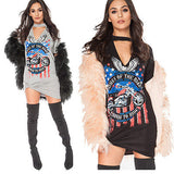 Kings of the road distressed choker tshirt dress - Iconic Trendz Boutique