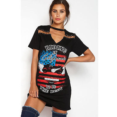Rocker Cali distressed cutout tshirt dress - Iconic Trendz Boutique