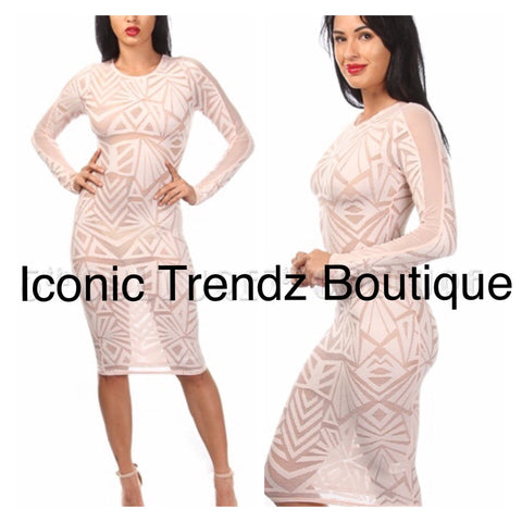 Sexy sheer Aztec bodycon dress - Iconic Trendz Boutique