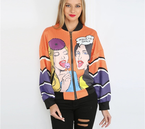 "80's ""Adults only"" Comic bomber jacket - Iconic Trendz Boutique"