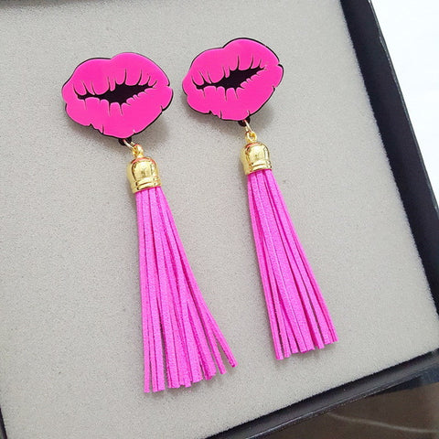 """Popping"" Sexy lips fringe tassel earring - Iconic Trendz Boutique"