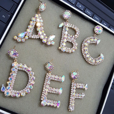 Glitz n Glam custom initial earring - Iconic Trendz Boutique