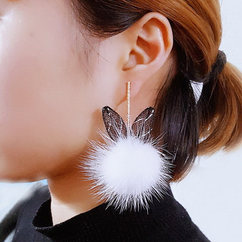 Fur ball bunny ears earrings - Iconic Trendz Boutique