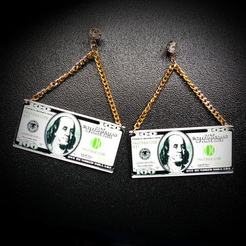 Dollar Dollar Bills dangle earrings - Iconic Trendz Boutique