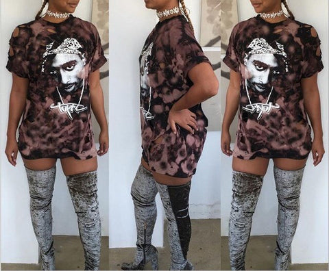 Tupac  (2pac) distressed retro tshirt - Iconic Trendz Boutique