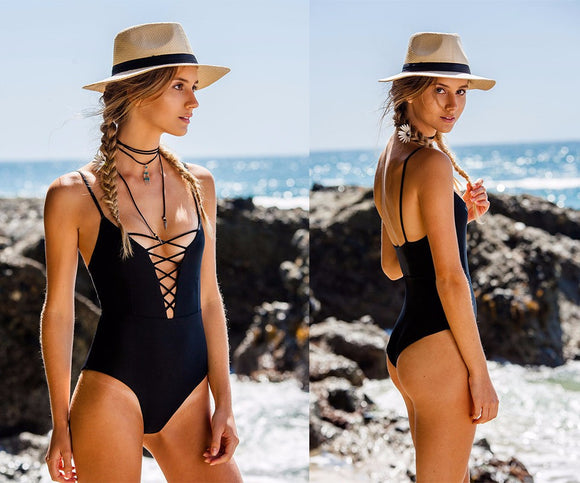 Sexy lace up plunge monokini one piece bikini - Iconic Trendz Boutique