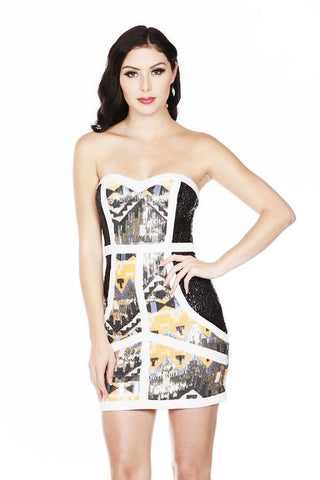 """Talk of the Town"" tribal sequined bodycon dress - Iconic Trendz Boutique"