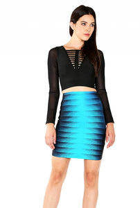 blue bodycon bandage mini fashion skirt