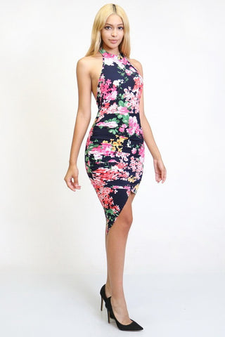 halter backless floral bodycon dress