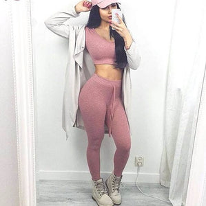 "Sexy 2 piece ""roadtrip"" crop top hoodie & pants set - Iconic Trendz Boutique"