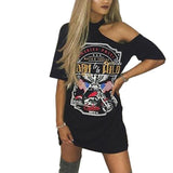 Born to be wild cutout fashion distressed tshirt dress - Iconic Trendz Boutique