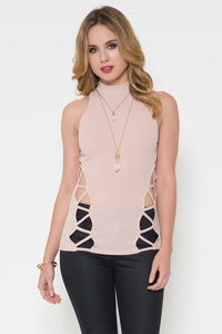 Mock Neck Cutout Side Top - Iconic Trendz Boutique