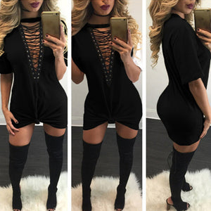 """New York Minute"" lace up tshirt dress - Iconic Trendz Boutique"