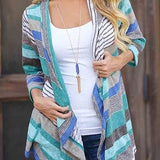 Stripe open front cardigan top - Iconic Trendz Boutique