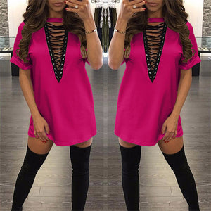 "pink "" New York Minute"" lace up tshirt dress - Iconic Trendz Boutique"
