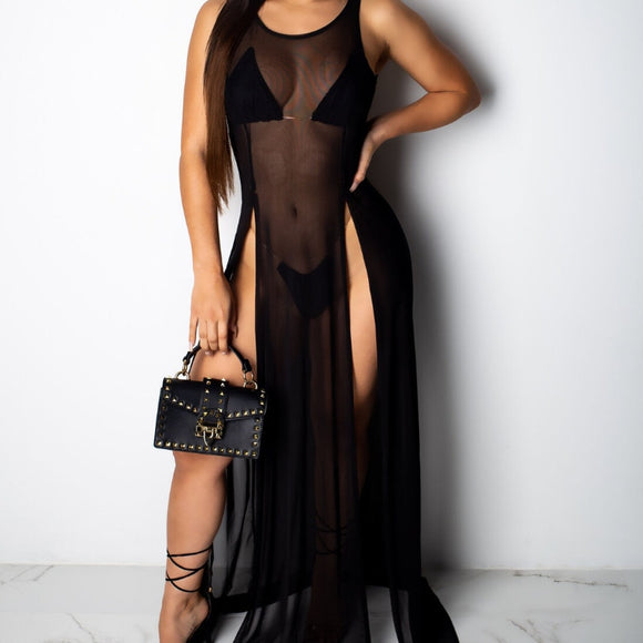 Sexy high split sheer swimsuit Cover Up beach long Dress