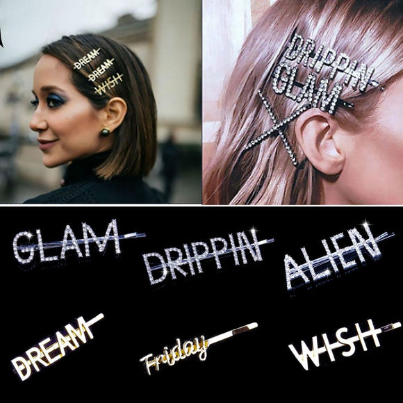 Glam luxury rhinestone hair clips diamond letter word hairpins