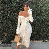 Classic off the shoulder drawstring draped Long Sleeve Midi Dress