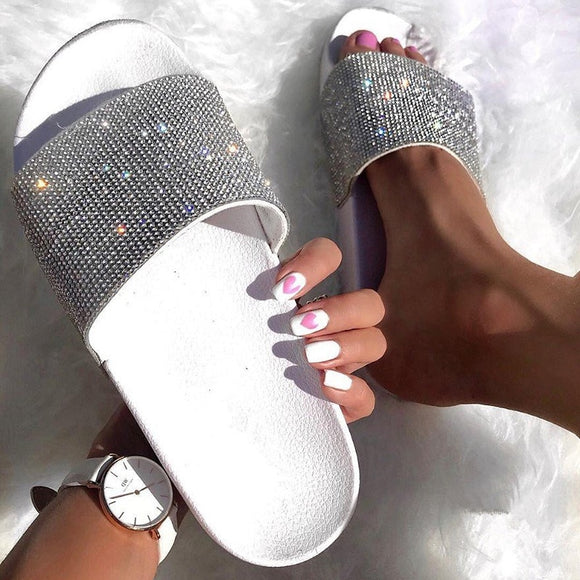 Women luxury Rhinestone Diamond Slides Slippers Shoes