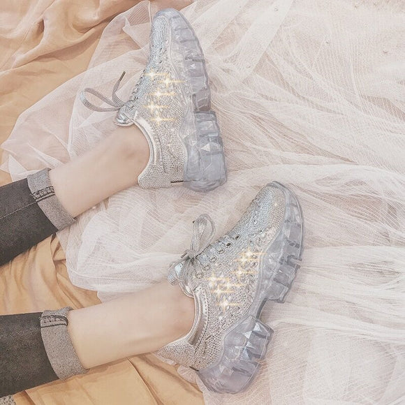 Rich rhinestone crystal Jelly bottom retro chunky clear glass sneakers shoes