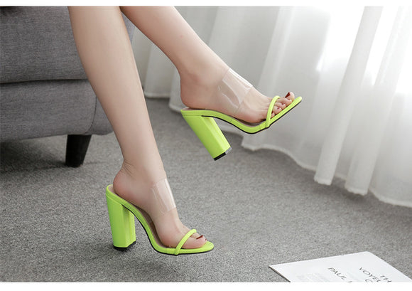 Women Classic clear neon Fluorescent green High Heels Slippers Sandals