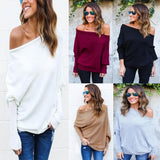 Trendy off the shoulder loose oversize knitted sweater top - Iconic Trendz Boutique