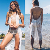 """boho babe"" stredded cutout bikini coverup open front dress - Iconic Trendz Boutique"