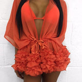 """Elite"" ruffle detail bikini swimsuit coverup - Iconic Trendz Boutique"