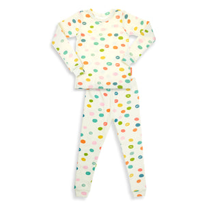 Happy Dots / Unisex -Soft - Cozy / 2 Pieces Pajama Set / GOTS Certified Organic Cotton /  Made in Brooklyn NY