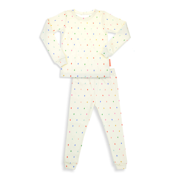 Diamonds Unisex 2 Pieces Soft Cozy Pajama Set / GOTS Certified Organic Cotton / Made in Brooklyn NY