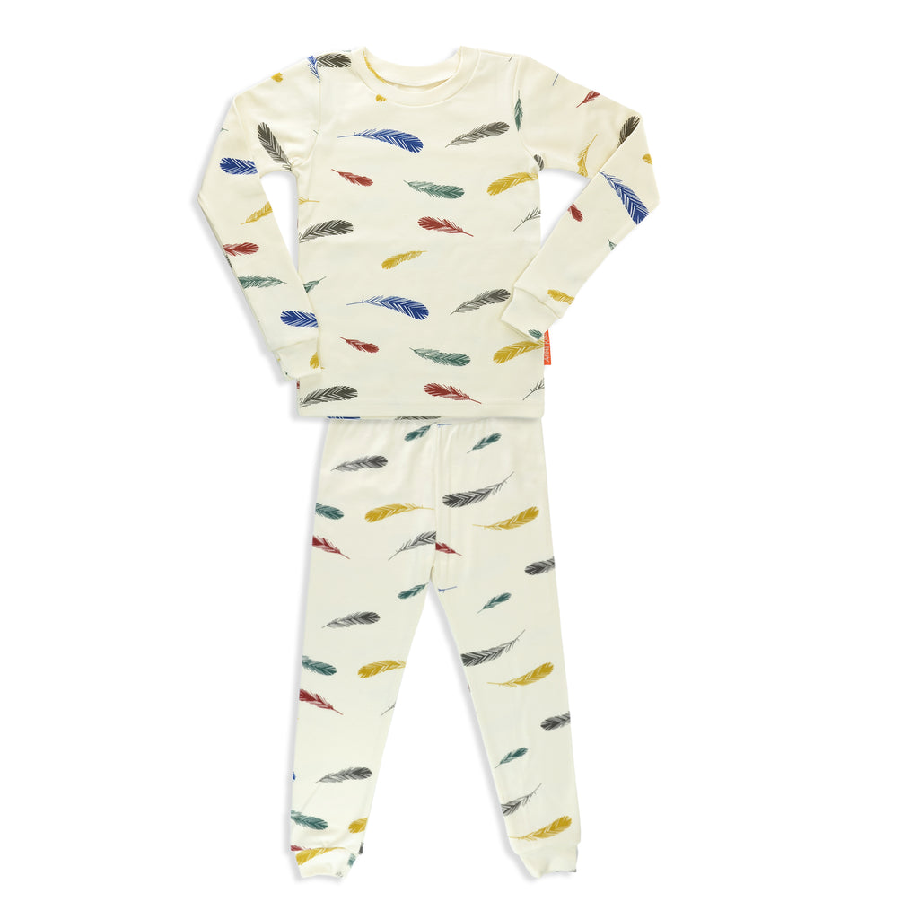 Colorful Feather Unisex 2 Pieces Soft Cozy Pajama Set / Made in Brooklyn NY / GOTS Certified Organic cotton