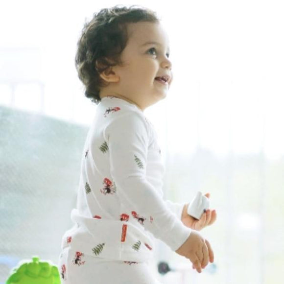 Two-Piece Penguin Nina GOTS certified 100% organic Cotton Long Sleeve Footless PJs.