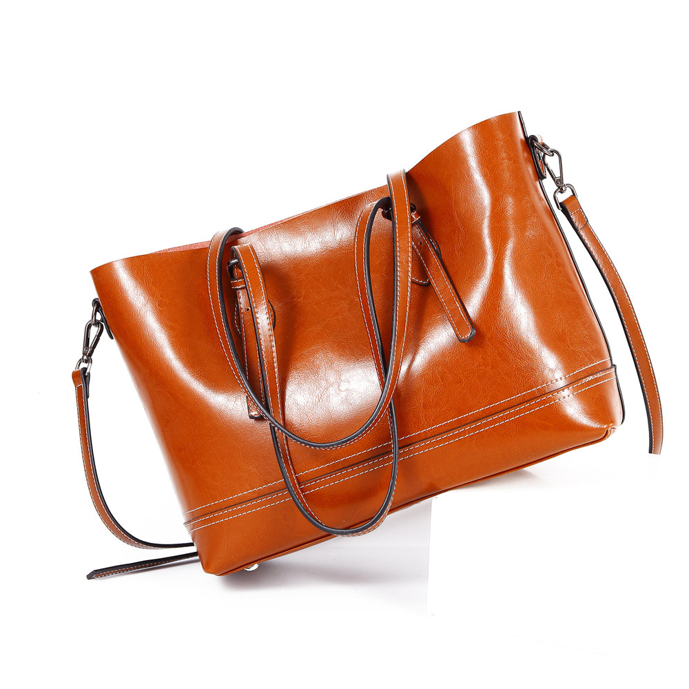 f2ef49e3e9 Leather Large Tote Brown Shoulder Bag For Women-icraftleather ...